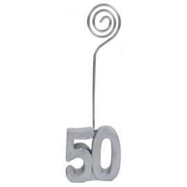 Marque-place anniversaire 50 ans argent les 2