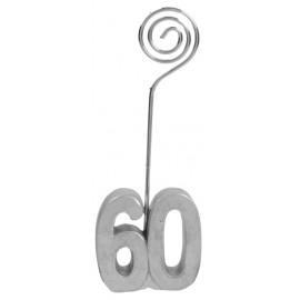 Marque-place anniversaire 60 ans argent les 2