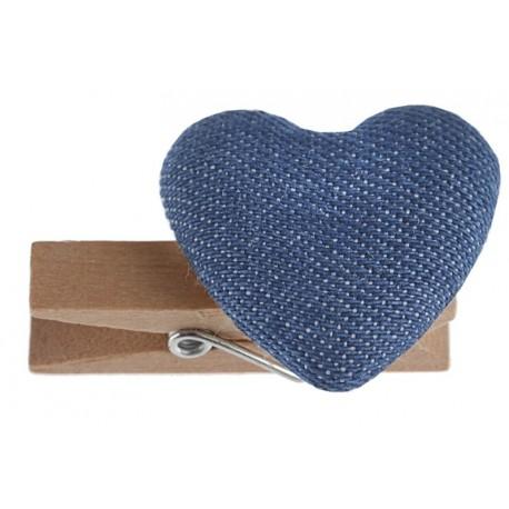 Coeur coton bleu clair sur pince déco les 6