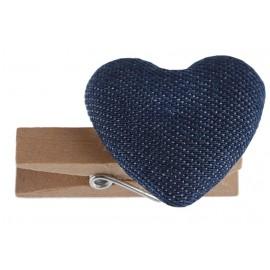 Coeurs coton bleu sur pince déco les 6