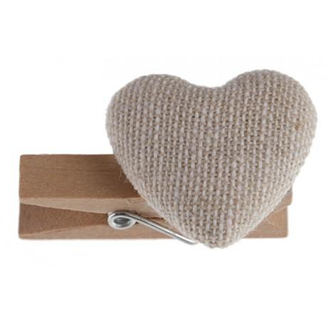 Coeur coton naturel sur pince déco les 6