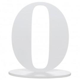 Numéro de table chiffre 0 blanc en bois 16 cm