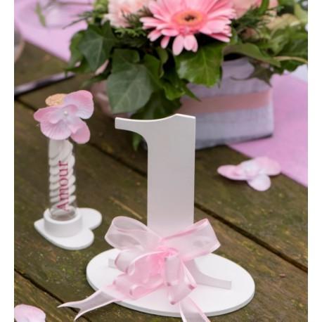 Numéro de table chiffre 1 blanc en bois 16 cm
