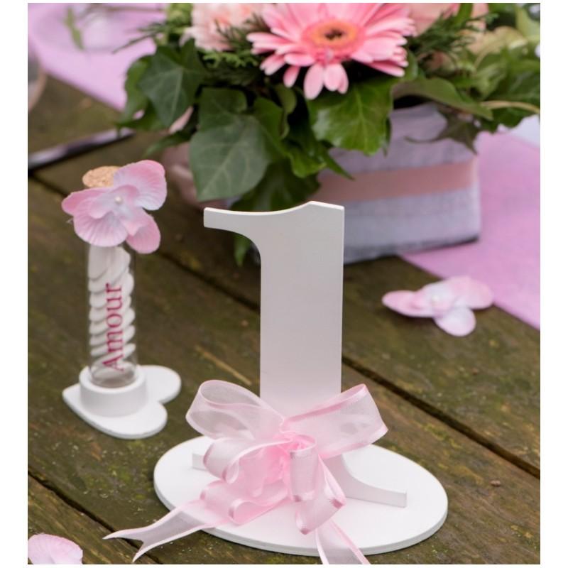Num ro de table chiffre 1 blanc en bois marque table num ros de table - Numero de table a imprimer ...