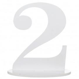 Numéro de table chiffre 2 blanc en bois 16 cm