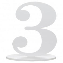 Numéro de table chiffre 3 blanc en bois 16 cm