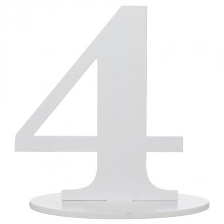 Numéro de table chiffre 4 blanc en bois 16 cm