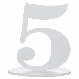 Numéro de table chiffre 5 blanc en bois 16 cm