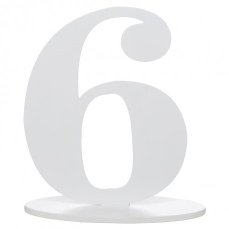 Numéro de table chiffre 6 blanc en bois 16 cm