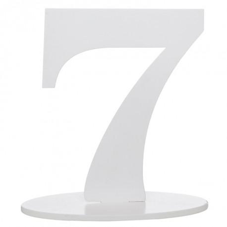Numéro de table chiffre 7 blanc en bois 16 cm