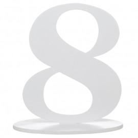 Numéro de table chiffre 8 blanc en bois 16 cm
