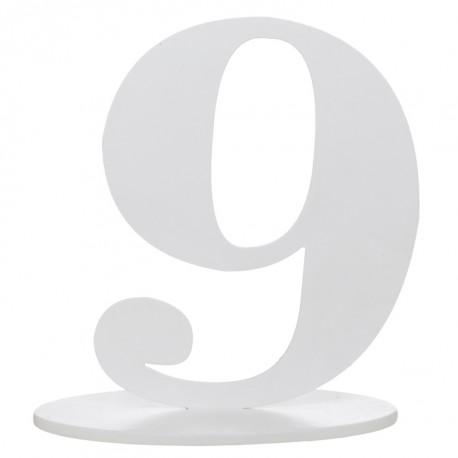 Numéro de table chiffre 9 blanc en bois 16 cm