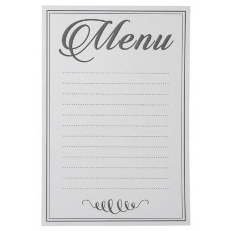 Menu blanc avec lignes en papier 15 cm les 10