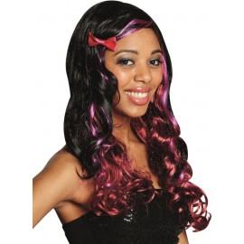 Perruque bouclée noire à mèches couleur femme
