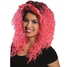 Perruque bouclée rose femme