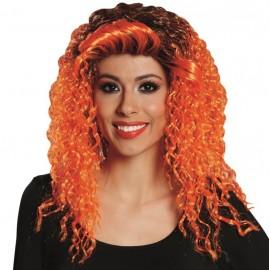 Perruque bouclée orange femme