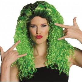 Perruque bouclée verte femme