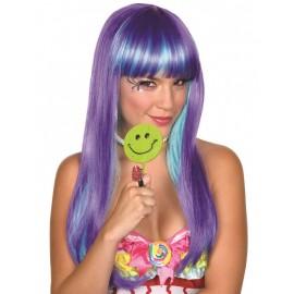 Perruque longue violette et bleue femme