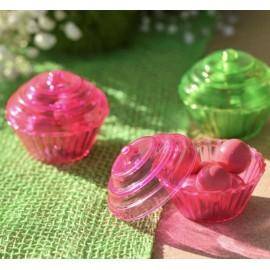 Boîte à dragées cupcake fuchsia transparent les 4