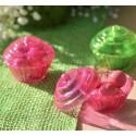 Boîtes à dragées cupcake fuchsia transparent 5 cm les 4