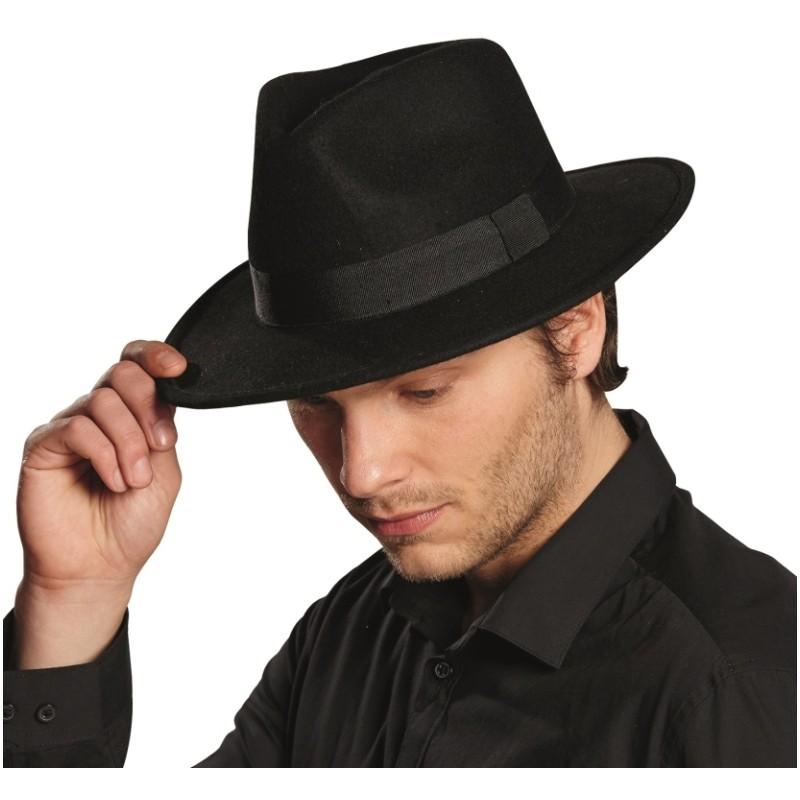 chapeau gangster noir homme chapeaux gangster adulte. Black Bedroom Furniture Sets. Home Design Ideas