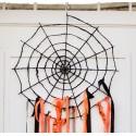 Déco toile d'araignée noire en métal pailleté 55 x 55 cm