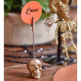 Marque-place tête de mort couleur avec pince les 2 (coloris au choix)