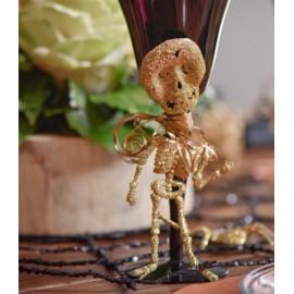 Squelettes pailletés or 18.5 cm les 2
