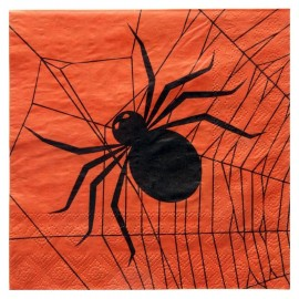 Serviettes de table Halloween papier orange noir les 20