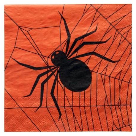 Serviette de table Halloween papier orange noir les 20