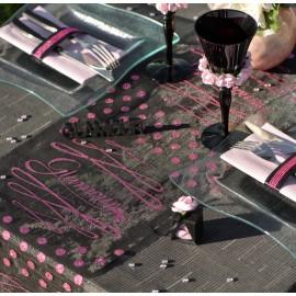 Chemin de table Glamour noir fuchsia en organdi 5 M
