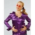 Déguisement Chemisier Satin Violet Femme