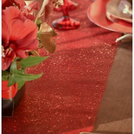 Chemin de table tulle pailleté rouge