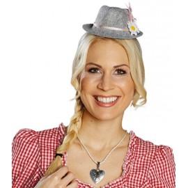 Mini chapeau tyrolien gris femme