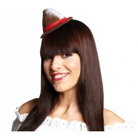 Mini chapeau tyrolien brun femme