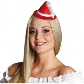 Mini chapeau bavarois rouge femme