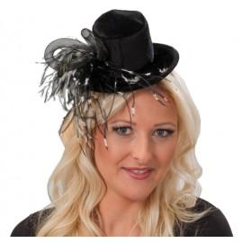 Mini chapeau haut de forme noir chic femme