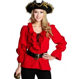 Déguisement chemise pirate rouge femme
