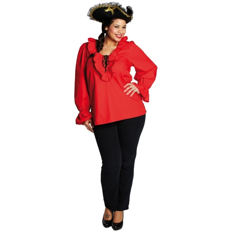d guisement chemise pirate rouge femme achat d guisements pirate. Black Bedroom Furniture Sets. Home Design Ideas