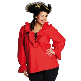 Déguisement chemise pirate rouge femme grande taille