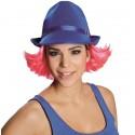 Chapeau borsalino bleu avec cheveux roses adulte