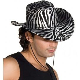 Chapeau cowboy zébré argent noir adulte