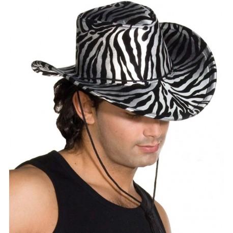 Chapeau cowboy zèbre argent noir adulte (zébré)