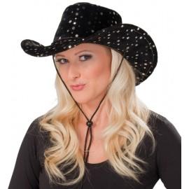 Chapeau cowboy noir sequin argent adulte