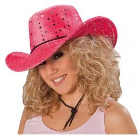 Chapeau cowboy fuchsia sequin argent adulte