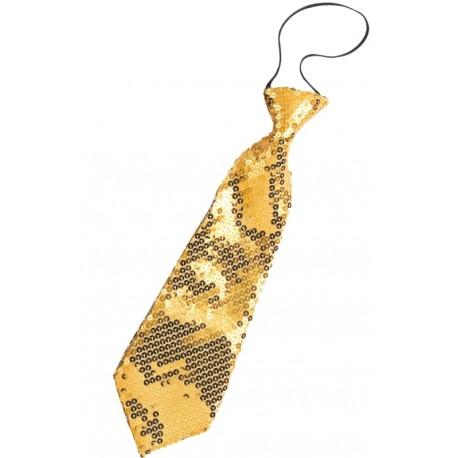 Cravate à paillettes or adulte