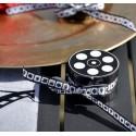 Ruban cinéma en satin blanc et noir 10 M