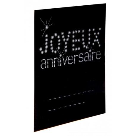 Marque-place anniversaire carton noir les 6