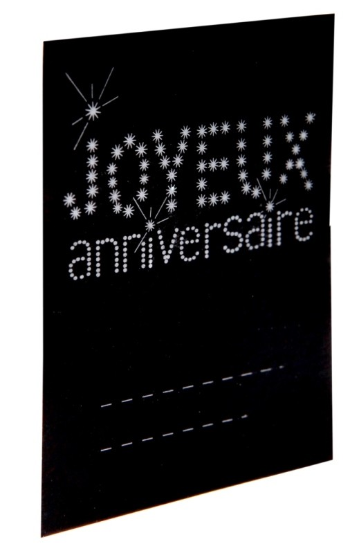 marque place anniversaire carton noir les 6 marque places anniv. Black Bedroom Furniture Sets. Home Design Ideas
