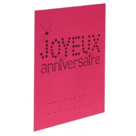 Marque-place anniversaire carton fuchsia les 6